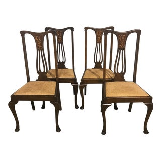 Queen Anne Style Inlaid Chairs - Set of 4