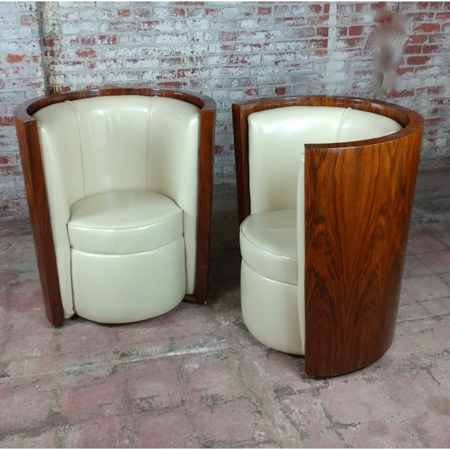 Art Deco fabulous burl walnut Barrel Chairs w/White leather seats-a Pair Pair of barrel shape chairs featuring a high-...