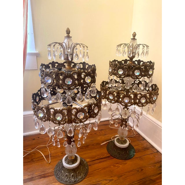 19th Century Large Gilt Bronze and Crystal Girandole Table Lamps - a Pair For Sale In West Palm - Image 6 of 6