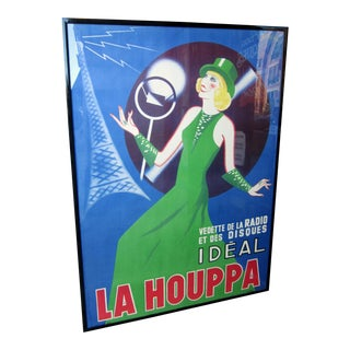 """1930s French Art Deco Original Lithograph Poster """"La Houppa"""" French Actor & Songstress Radio Star 1930s Showgirl Figural Large Format Poster in Frame For Sale"""