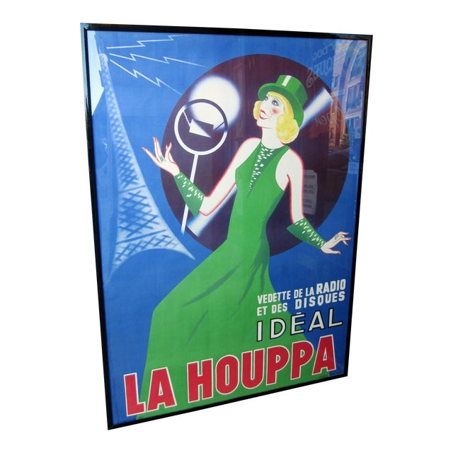 "1930s French Art Deco Original Lithograph Poster ""La Houppa"" French Actor & Songstress Radio Star 1930s Showgirl Figural Large Format Poster in Frame For Sale"