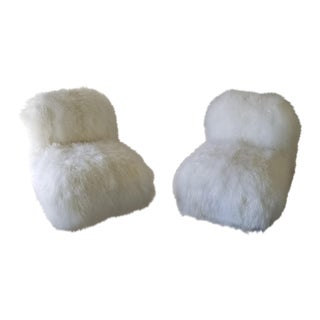 1970's Vintage Chiclet Club Chairs Recovered in Real Mongolian Lamb Fur- A Pair For Sale