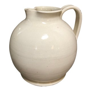 Italian Cream Pottery Pitcher For Sale