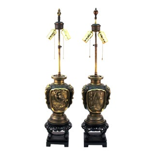 Japanese Meiji Bronze Urn Form Table Lamps - a Pair For Sale