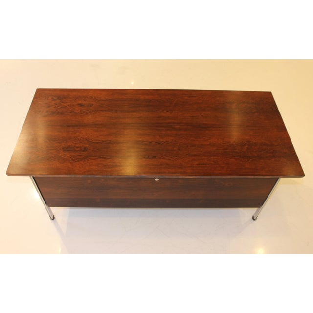 Brown Finn Juhl Rosewood Executive Desk For Sale - Image 8 of 13