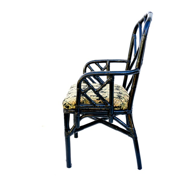 Wood Vintage Bamboo Chippendale Arm Chairs - A Pair For Sale - Image 7 of 12