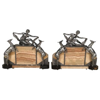 Figural Art Deco Silver Plated and Onyx Lamps - a Pair For Sale