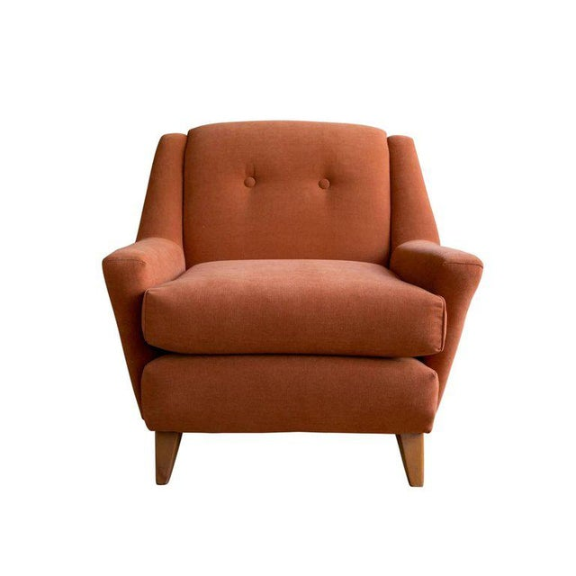 Danish Modern 1950s Burnt Orange Upholstered Lounge Chair by Heywood Wakefield For Sale - Image 3 of 8