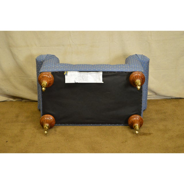 Hollywood Regency Calico Corners Regency Style Tufted Bench For Sale - Image 3 of 10