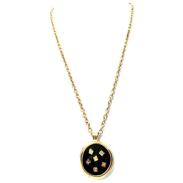 """20th Century Gold & Enamel """"G"""" Logo Reversible Givenchy Pendant Necklace For Sale - Image 9 of 9"""