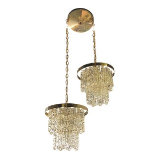 Vintage Icicle Double Pendant Light For Sale