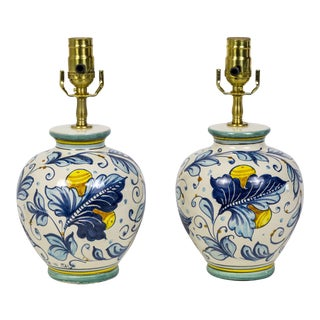 Italian Hand Painted Blue, White & Green Floral Ceramic Amphora Lamps - a Pair For Sale