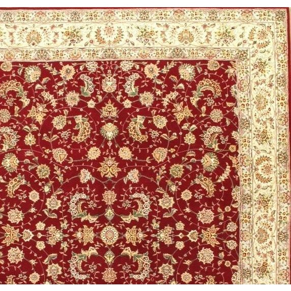 Original Sino Tabriz handmade and hand-knotted Silk highlighted with wool on a Cotton foundation This rug has a dense,...