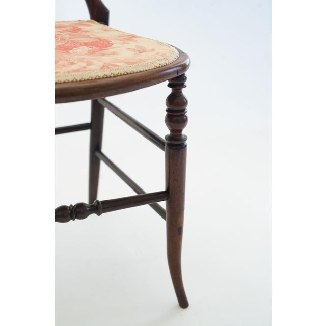 Wood Pair of Mahogany Balloon-Back Chairs/Bennison Seats For Sale - Image 7 of 7