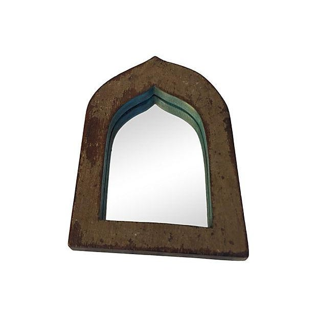 Brown & Blue Indian Archway Mirrors - A Pair For Sale - Image 5 of 5