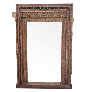 Large Antique India Carved Doorway Mirror For Sale