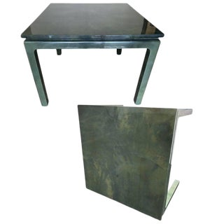 Pair of Jimeco Ltda Lacquered Goatskin Game Tables For Sale