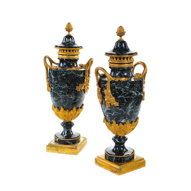 French 19th C. French Marble Gilt Urns - A Pair For Sale - Image 3 of 9