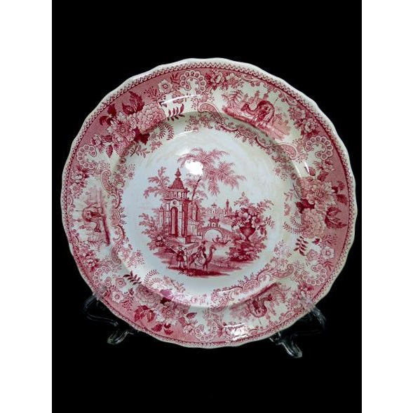 1830s F. Dillon China Red & White Transfer Plate For Sale - Image 9 of 10