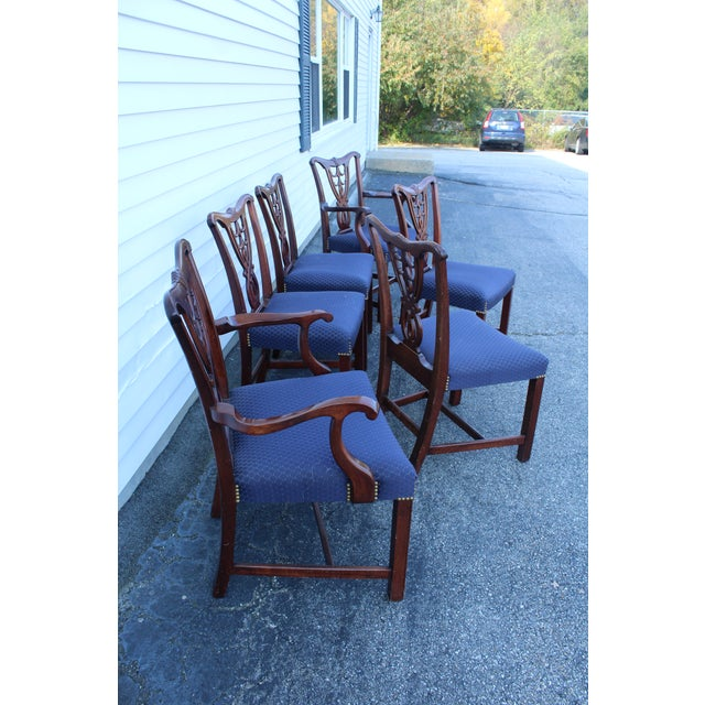 Vintage Mid Century Blue Dining Chairs- Set of 6 For Sale - Image 10 of 11