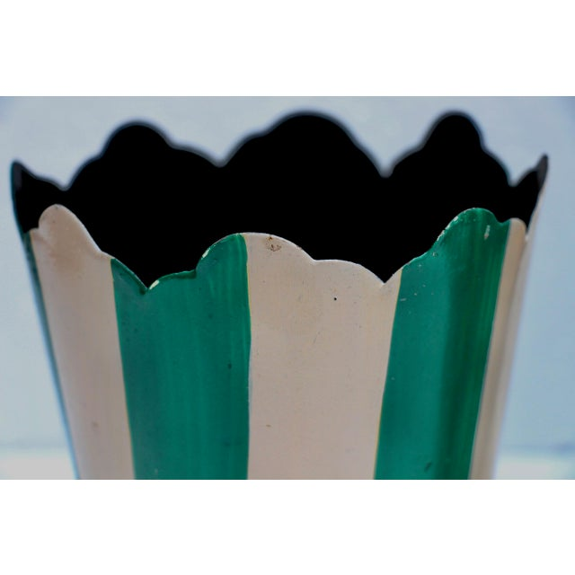 Green Striped Tole Planters - A Pair - Image 4 of 6
