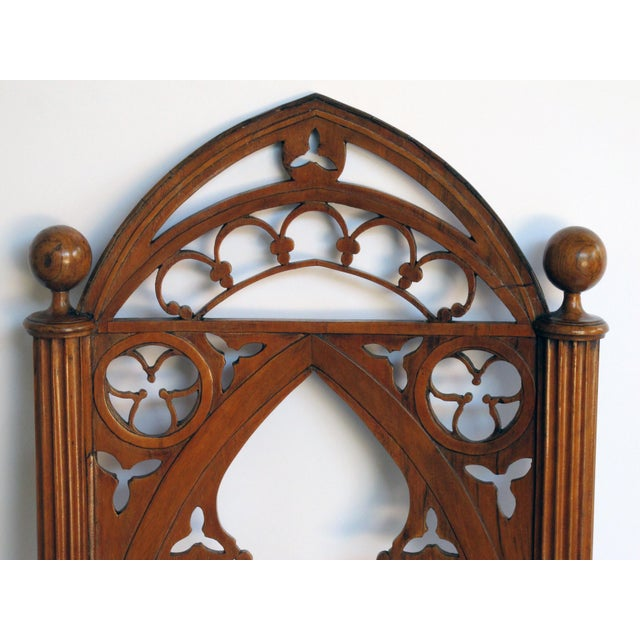 A handsome and well-carved set of 4 continental gothic revival klismos-form walnut side chairs; possibly Austrian or German For Sale - Image 4 of 8