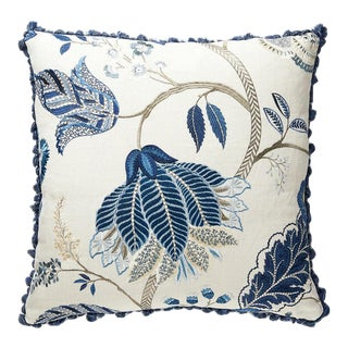 Palampore Embroidery Pillow in Blue For Sale