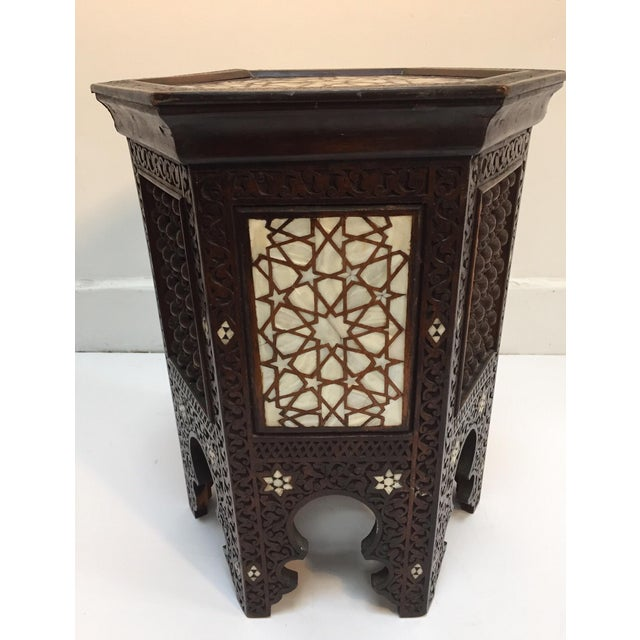 Arts & Crafts 19th Century Syrian Mother-Of-Pearl Inlaid Side Table For Sale - Image 3 of 12
