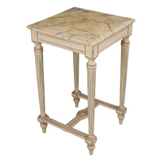 French Louis XVI Painted and Faux Marble Side Table For Sale