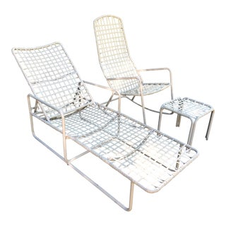 Brown Jordan Patio Lounger, Rocker & Ottoman—Set of 3 For Sale