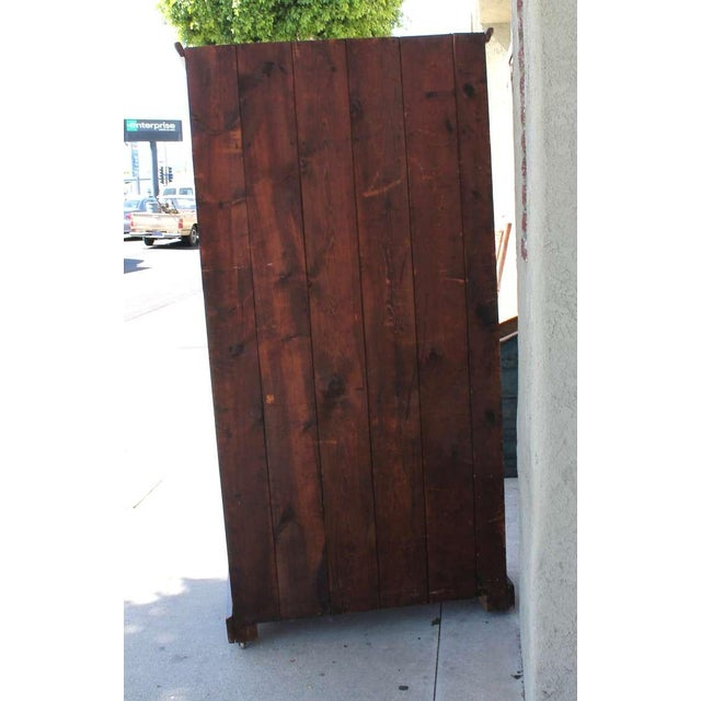 Pine Original Brown Painted 19th Century Pennsylvania Wall Cupboard For Sale - Image 7 of 9