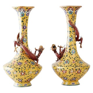 Pair of Chinese Cloisonné Dragon Mounted Yellow Vases For Sale