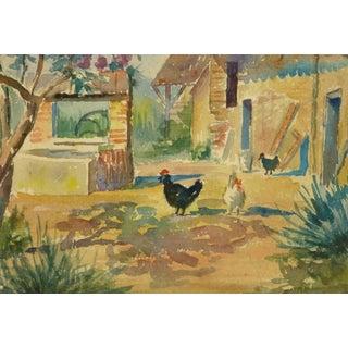 French Farm Landscape Watercolor For Sale