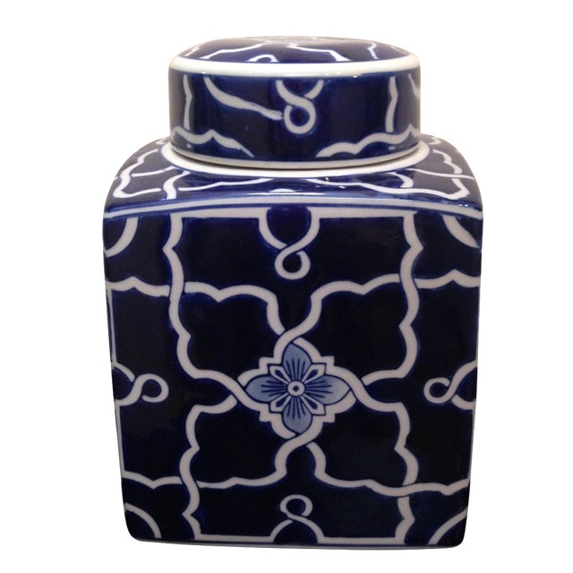Blue & White Square Ginger Jar - Image 1 of 6
