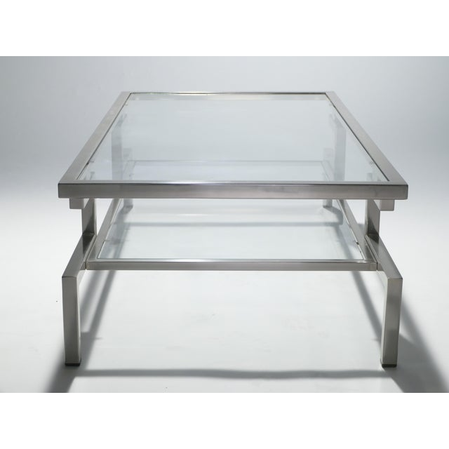 Metal Hollywood Regency Nickel Coffee Table Guy Lefevre for Maison Jansen, 1970s For Sale - Image 7 of 9