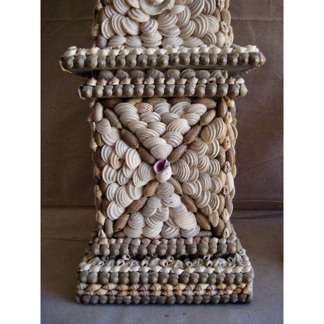 Late 20th Century Large Vintage Mid-Century Modern Shell Obelisks - a Pair For Sale - Image 5 of 12