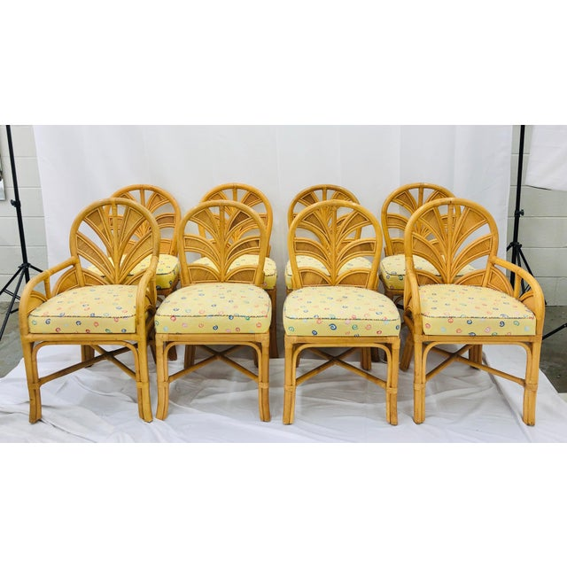Set of Eight Vintage Bent Rattan Chairs For Sale - Image 11 of 11