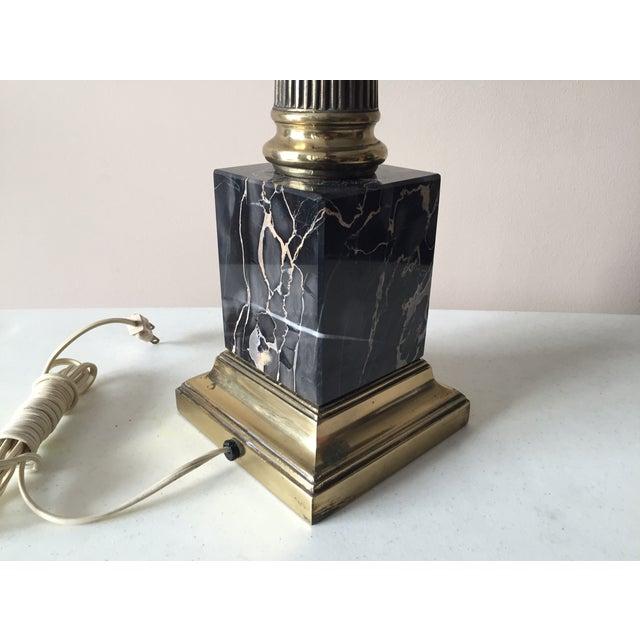 Vintage Portoro Marble & Brass Column Table Lamp - Image 5 of 9