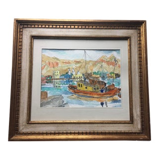 Colorful Harbor Scene Watercolor Painting, Signed & Framed For Sale