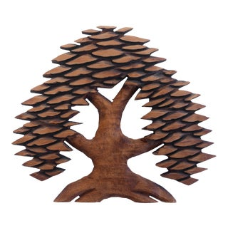 Vintage Hand Carved Cryptomeria Wall Tree Sculpture For Sale