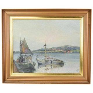 Impressionist Painting Boats at Grundshund Sweden by Christensen For Sale