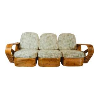 Midcentury Paul Frankl Style Pretzel Rattan Three-Seat Sofa For Sale