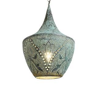 Copper Verdigris Dot Puncture Lantern Medium For Sale