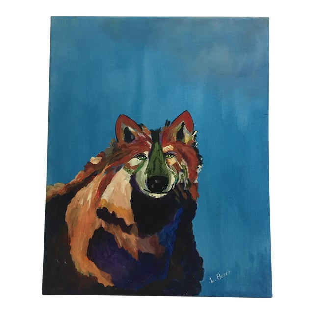 L. Burris Abstract Wolf Acrylic Painting - Image 1 of 6