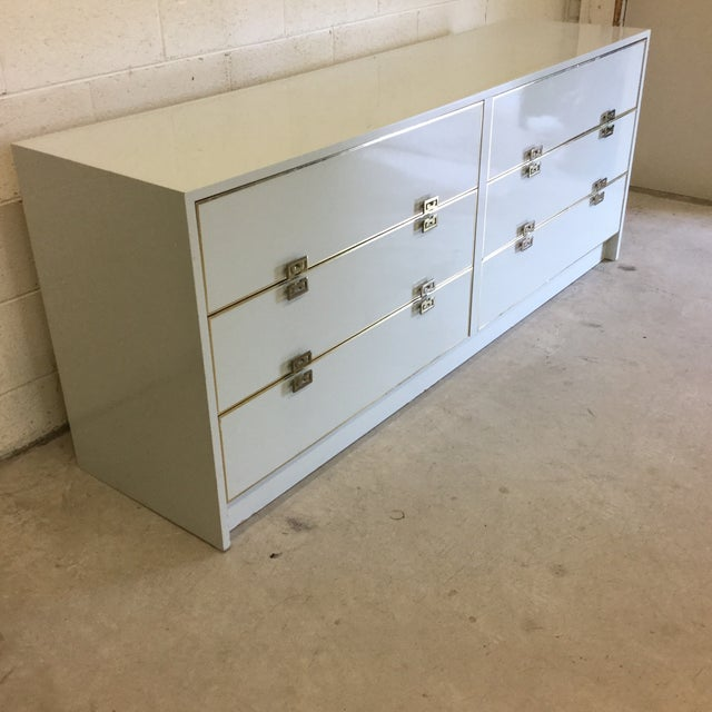 Contemporary White Lacquer 6 Drawer Dresser With Greek Key Brass Pulls For Sale - Image 3 of 10