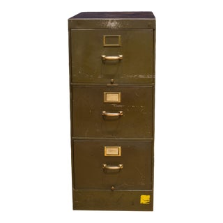Library Bureau Sole Makers Army Green Steel and Brass File Cabinet C.1940 For Sale