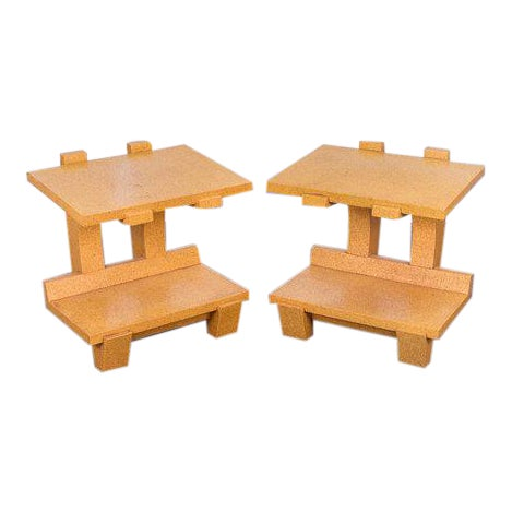 Kevin Walz Cork Side Tables - a pair For Sale