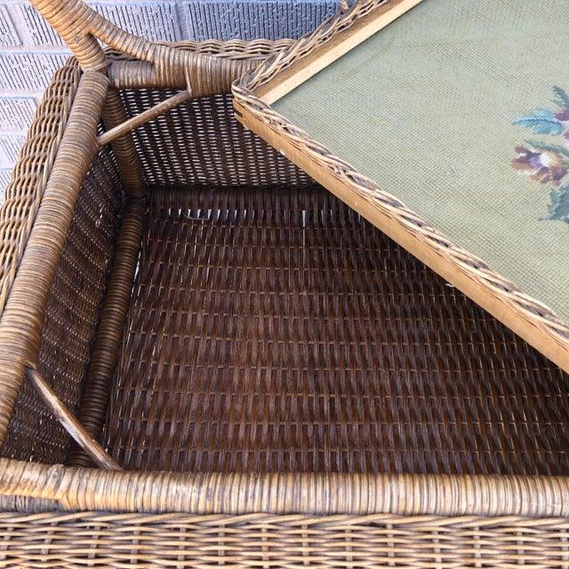 Wicker Early American Antique Wicker Tea Trolley/Bar Cart For Sale - Image 7 of 13