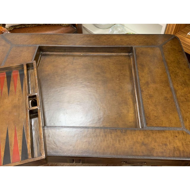 Late 20th Century Maitland-Smith Leather Game Table For Sale - Image 5 of 10