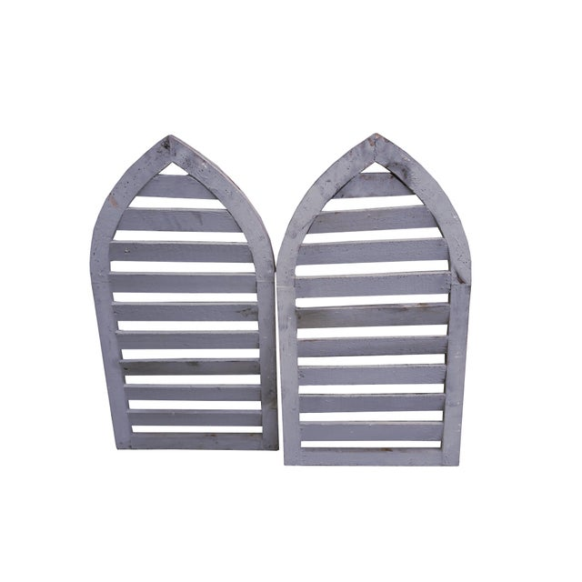 2000 - 2009 Pair Rustic Gray Distressed Cathedral Slatted Shutters Shabby Cottage Windows For Sale - Image 5 of 6